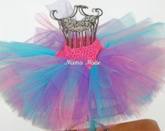 Hot Pink, Turquoise and Purple  Tutu,girls tutu,flower girl tutu,birthday tutu,wedding tutu,photo prop tutu,full tutu,newborn tutu,tutu