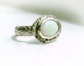 Genuine Opal Ring in Sterling Silver, October Birthstone-The Water Lily Ring, ready to ship, size 5 3/4