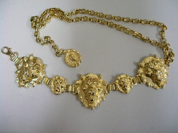 Vintage Neiman Marcus Made in Italy Lions Head Chain Belt MINT