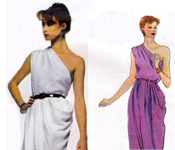 RESERVED for jl777    70s Vogue Paris Original Sewing Pattern 2307 Rare One Shoulder Givenchy Dress Bust 34 UNCUT FF