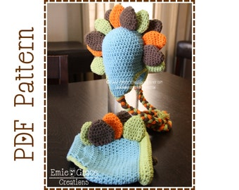 Crochet Dinosaur Hat and Diaper Cover Patterns, DANNY and DINA - pdf 134, 712