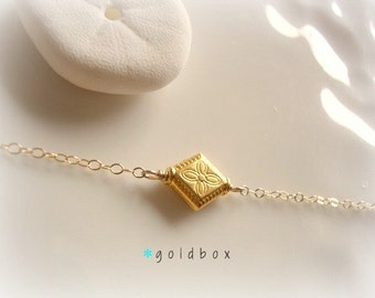 goldbox - yellow gold vermeil with delicate flower etching - old world feel - dainty everyday jewelry