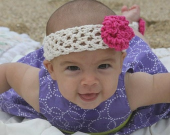 Baby Cotton Headband and Barefoot Sandals Set in Ecru and Hot Pink  0-3 Months