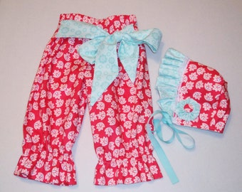 Toddler Baby Girl Pants and Bonnet Matching Set Spring Outfit Coral and Aqua