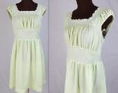 40% OFF SALE 70's Day Dress / Lime Dress / Prairie Dress / Mini Dress (m)