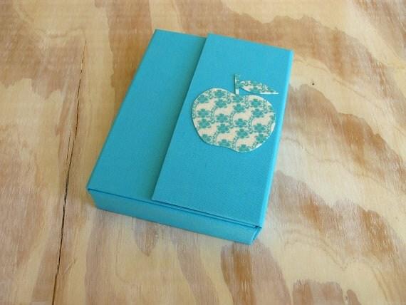 Aquamarine Baby Box with White and Blue Felt Apple 5x7