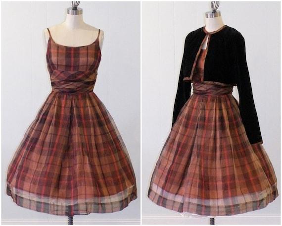 1950s Jonathan Logan Dress & Bolero Set, 50s Brown Plaid Organdy Full Skirted Cocktail Party Dress Velvet Shrug, Vintage Rockabilly Dress