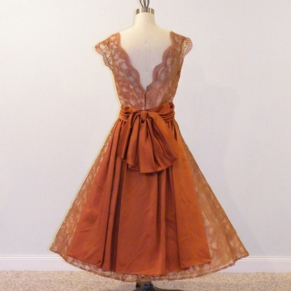 50s Dress / 1950s Cocoa Brown Scalloped Floral Lace & Satin Formal Cocktail Illusion Wedding Party Dress, Full Skirted Plunging Back