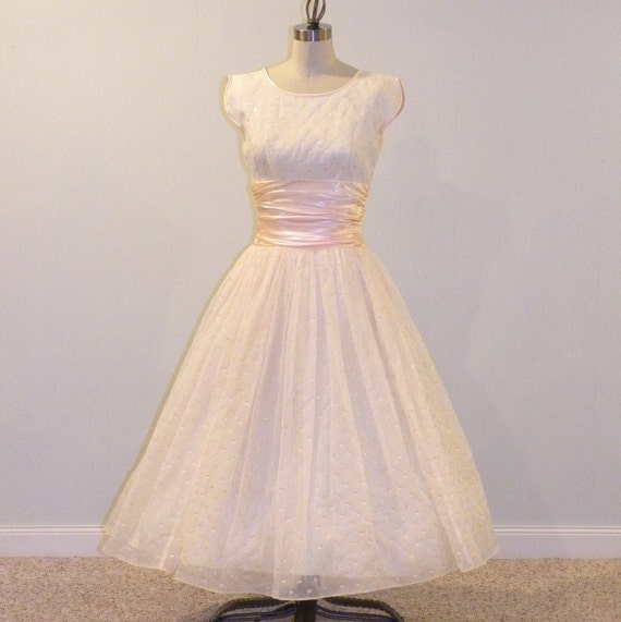 1950s Party Dress, 50s Ivory Organza Peach Flocked Polka Dots Formal Cocktail Wedding Party Prom Dress, Full Skirt Vintage Rockabilly Dress