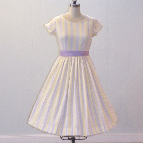 1960s 60s Dress, Lavender & Yellow Striped Embroidered Cotton Easter Day Dress, Full Gathered Skirt w Netting, Reversible Sash, Bonnie Blai