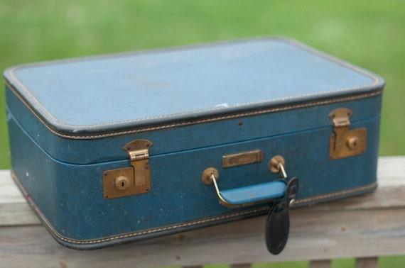 Vintage Suitcase - Blue/Teal - Photography Prop