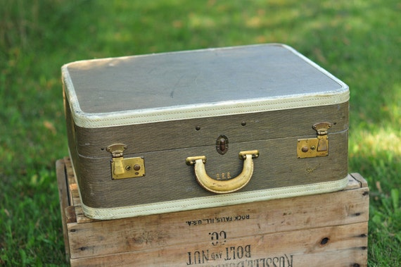 Vintage Olive Green and Tan Skyway Suitcase