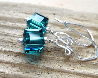 Ocean Blue Earrings, Swarovski Cube Earrings, Aqua Teal Blue Crystals, Sterling Silver Earrings, Nautical Aqua Blue
