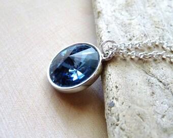 Swarovski Crystal Necklace, Denim Blue Swarovski Crystal Rivoli Pendant, Dark Blue Necklace, Bridesmaid Gifts