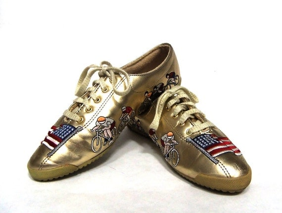 80s Gold Metallic Woman's Olympic Pride Tennis Shoe From SophistiFunkVintage