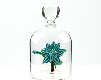 Glass Flower in a Jar - Turquoise and White Stripes