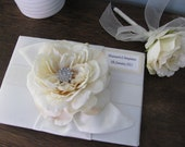 Wedding Guest Book and Guest Book Pen SET You Customize Shown Ivory Rhinestone Personalized Tag