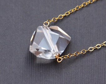 Herkimer Diamond Necklace, 14K gold filled or Sterling Silver, Every Day Jewelry, Simple, Modern