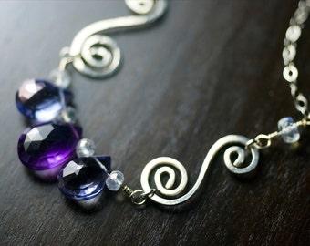 "Amethyst Gemstone Sterling Silver Necklace - Purple Amethyst, Mystic Blue Quartz, Blue Fire Moonstone, Spiral, February - ""Iris"""