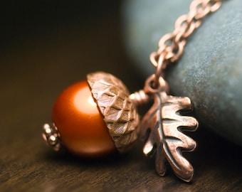 "Pumpkin Glass Pearl Acorn Oak Leaf Necklace Antiqued Copper Wrapped Pendant Burnt Orange Autumn Fall - ""Harvest"""
