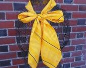 Yellow Polka Dot Scarf Necktie Long Headband Bright Summer Fashion Belt Mod Headpiece