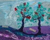 original digital artwork download - 4x6 abstract art collage trees colorful art  inspirational art print