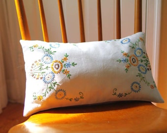 Floral Embroidered Pillow:  Cottage Chic Home Decor - Recycled Vinatge Embroidery - Ecofriendly