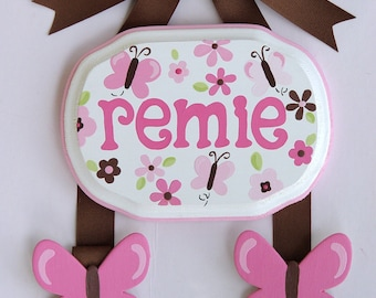 Hand Painted and Personalized 5 x 7 Hair bow holder