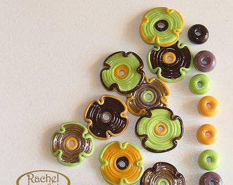Multicolor Lampwork Flowers Glass Beads, FREE SHIPPING, Handmade Lampwork Glass Donuts Beads - Rachelcartglass