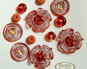 Red Flowers Lampwork Glass Beads, FREE SHIPPING, Handmade Glass Beads Disc and Spacers - Rachelcartglass