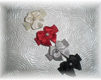 Baby Snap Clips, WINTER SET of Baby Bows, Baby Hair Bows - Ivory, Red, Black and Gray