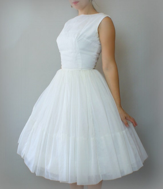 Vintage 1960s Wedding Dresses: Vintage 1960s Formal Dress White Chiffon Turquoise Velvet