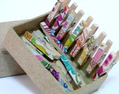 Mini Decorated Clothes Pins Wood Tiny Pegs Liberty of London Fabric Tana Lawn