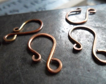 Artisan Antiqued Copper Hook Clasp Hanforged Hammered