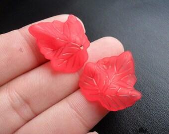 Red Lucite Ivy Leaf Charm/Pendant 10pcs. 24x24 mm