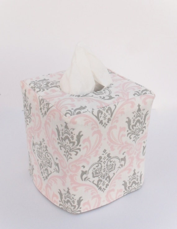Pink and Grey Damask reversible tissue box cover