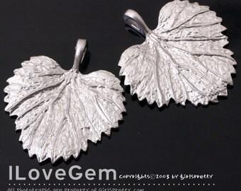 NP-1289 Matt Rhodium plated, Leaf pendant, 2pcs