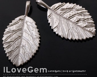 NP-1290 Matt Rhodium plated, Leaf pendant, 2pcs