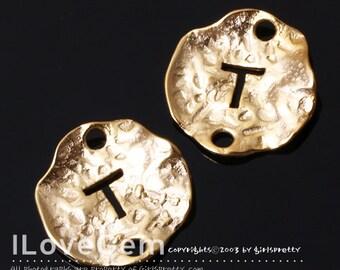 NP-1310 Matt Gold Plated, 12mm Disc, Pendant, Alphabet, T, 4pcs
