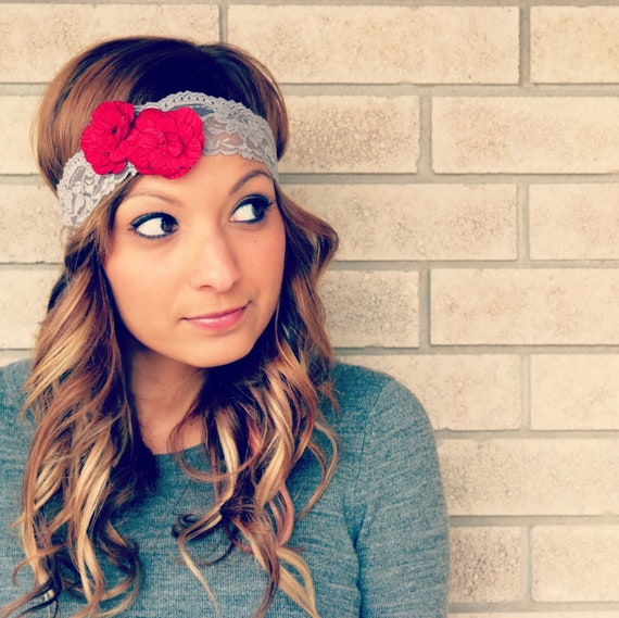 the bitty blooms- red teeny double flower lace headband