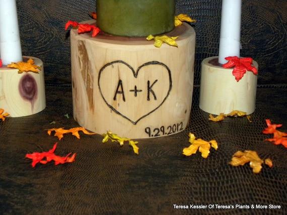 Pillar Wedding Candle Holder-Rustic Wedding Unity Candle Holders