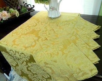 Damask Tablecloth and 4 Matching Napkins Set - Linen Table Cloth 8087