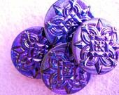 Czech Glass Buttons--Deep Purple