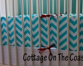 Chevron Teal Bumper Pad- Teal and White Cevron with Red Ties- MADE TO ORDER