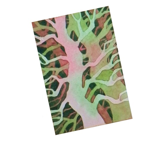 ACEO original watercolor, Complementary Trees II, 3 1/2 x 2 1/2