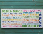 Family Rules Sign - Believe in Miracles - Colorful Typography Word Art in Landscape