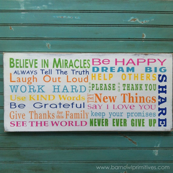 Wooden Sign Family Rules - Believe in Miracles - Colorful Typography Word Art in Landscape