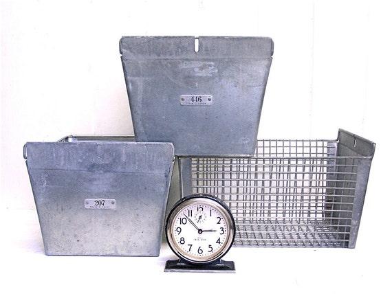 6 Vintage Metal Locker Baskets