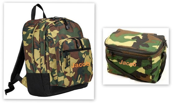 Camo Backpack And Lunch Box Set Free Personalization