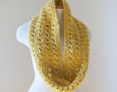 MADE TO ORDER Mustard Yellow Lace Knit Infinity Scarf N020